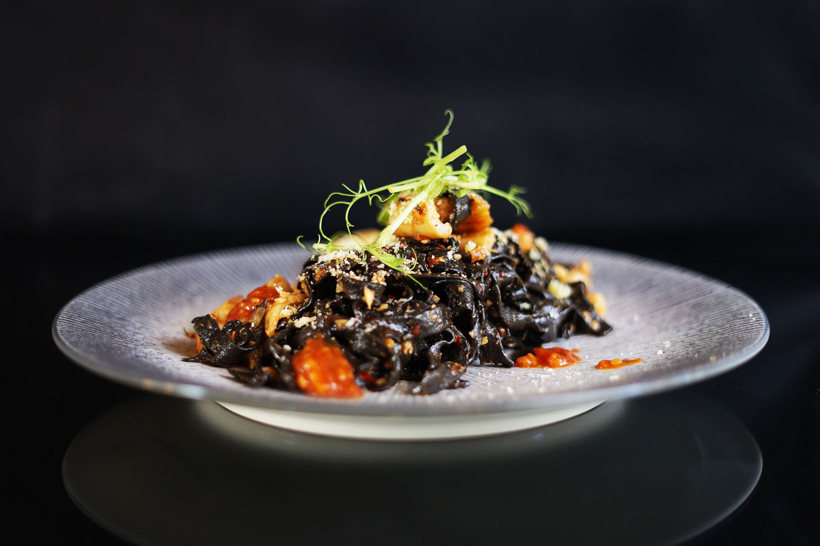 BLACK SQUID NOODLE WITH SEAFOOD POMODORO SAUCE
